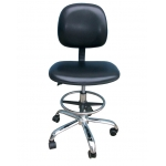 Anti-static PU leather chair with foot rest ring